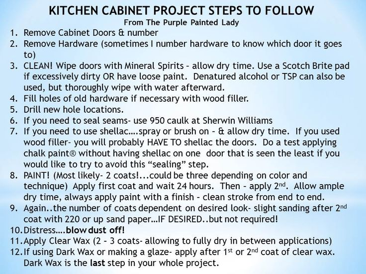 Ste4ps for painting your kitchen cabinets- visit The Purple Painted lady for help or to order you Chalk Paint® decorative paint by Annie Sloan