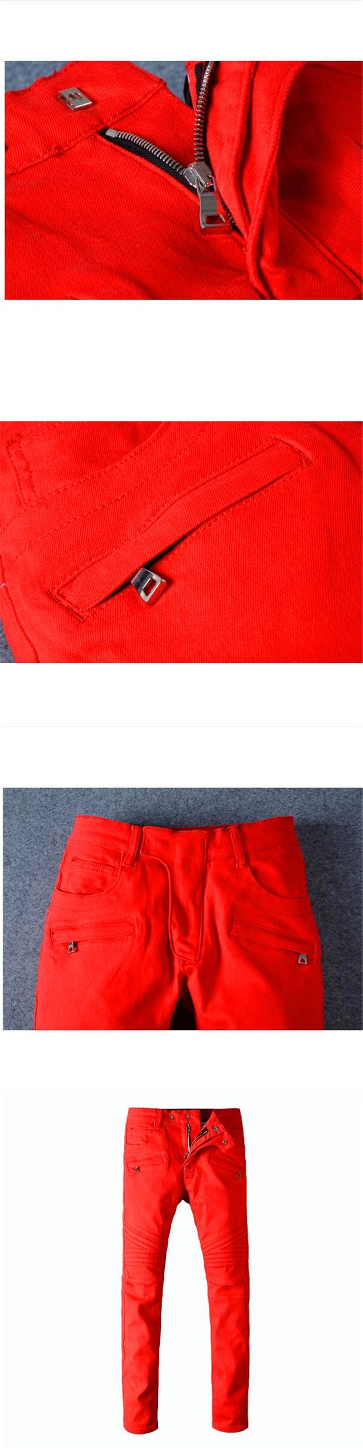Free Delivery,2017 Red Ripped Jeans Men With Holes Super Skinny Famous Slim Fit Torn Jean Pants For Male