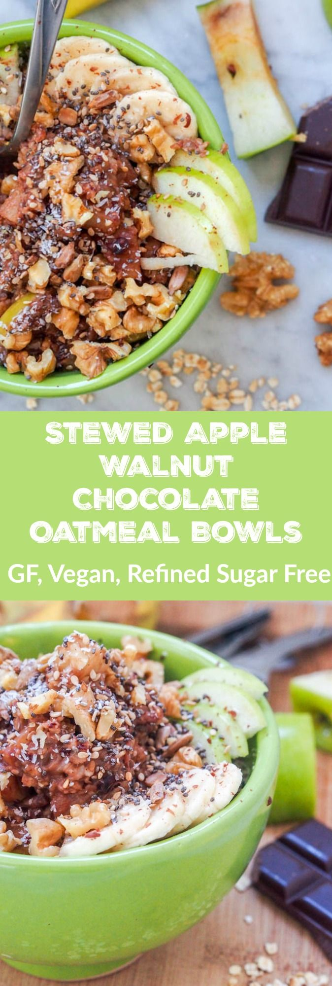 Want to feel like you're eating dessert for breakfast? Stewed Apple Walnut Chocolate Oatmeal is about to be your new favorite power breakfast. Stewed and caramelized diced apples and bananas mixed with oatmeal, chia, sesame, and sunflower seeds for a healthy and delicious sweet breakfast. Naturally sweetened with dark chocolate and dates and topped with crunchy walnuts. GF, Vegan and Refined Sugar Free. 8 g of protein and 11 g of fiber per serving.    avocadopesto.com