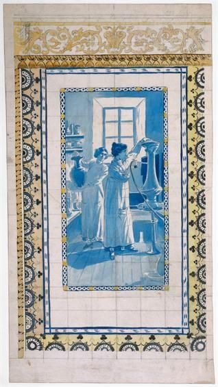 Jorge Colaço | Projecto para painel de azulejos / Project for azulejos panel | 1900-1942 | MNAz Inv. nº 28539 TC #Azulejo #JorgeColaço #MNAz