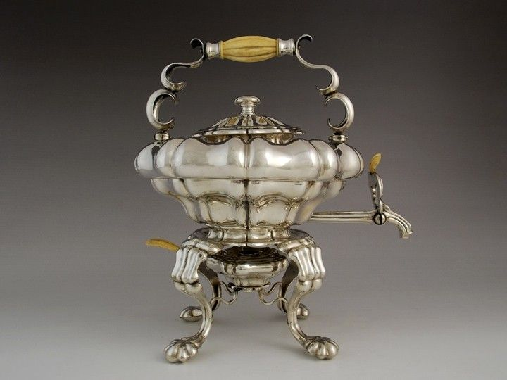 Biedermeier silver kettle with stand and burner, Vienna
