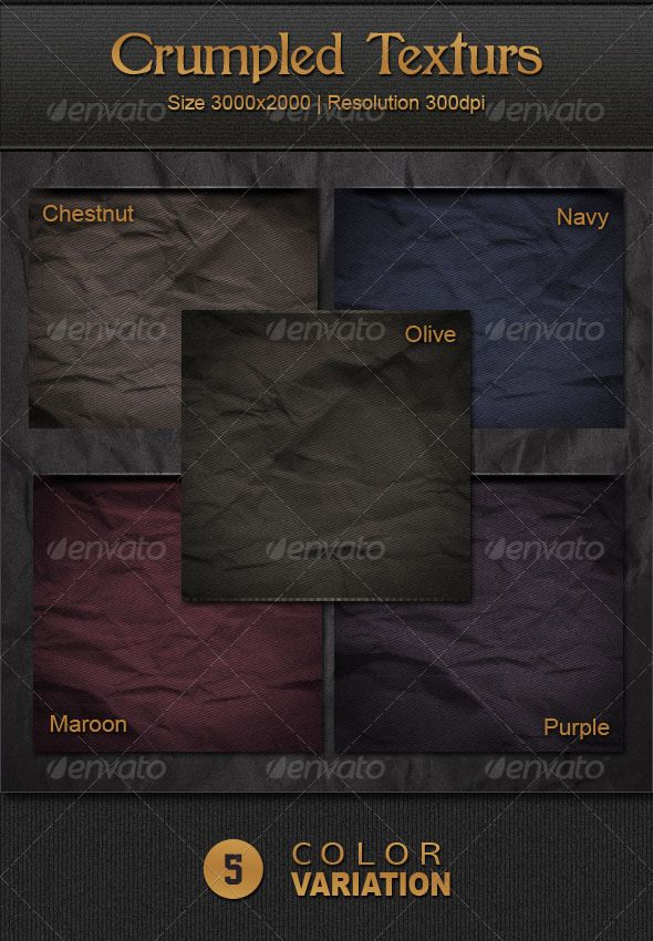 Crumpled Textures  #GraphicRiver         High resolution Crumpled Textures with 5 color variations – Chestnut, Maroon, Navy, Olive & Purple.     Created: 27August11 GraphicsFilesIncluded: JPGImage Layered: No MinimumAdobeCSVersion: CS PixelDimensions: 3000x2000 Tags: chestnut #crumpled #dark #gradients #grey #maroon #navy #olive #paper #pattern #print #purple #texture #variation #wall #web