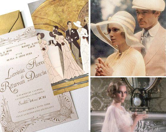 Invitații de nuntă Gatsby cu ilustrație - yorkdeco.ro