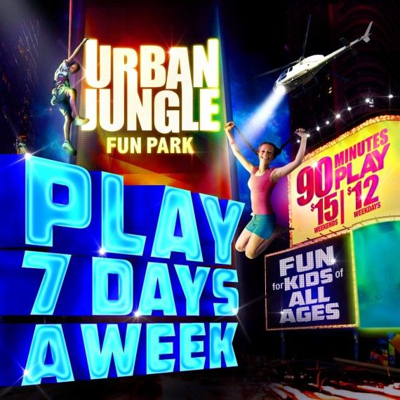 URBAN JUNGLE FUN PARK San Diego Trampoline Park Giant Indoor Playground Rock Climbing Giant Slide Obstacle Course Indoor Bounce House Kid & Teen Parties- You Get Free...