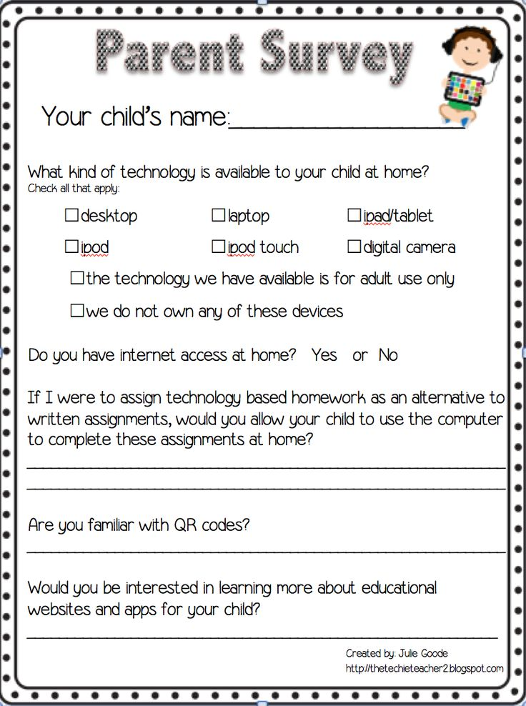 Parent homework survey