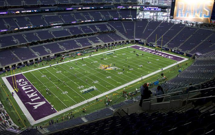 Download wallpapers US Bank Stadium, Chicago, american football stadium, Minnesota Vikings, National Football League, NFL, Minneapolis, USA