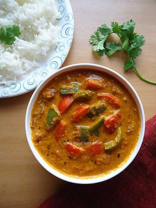 Capsicum Masala Curry recipe - flavorful capsicum curry in a peanut and sesame seed gravy.