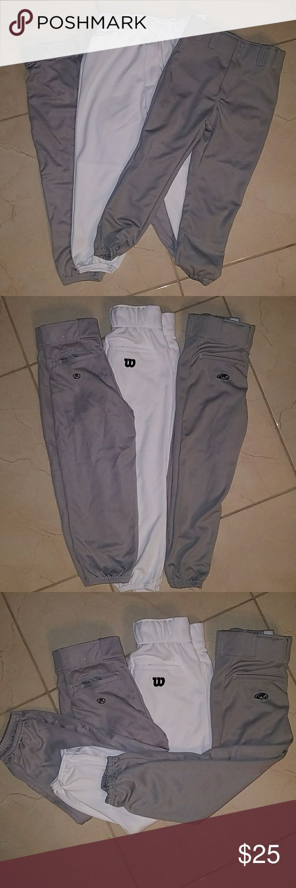 Baseball pants I have 2 Rawlings pants and 1 Wilson Baseball pants in good conditions. NO STAINS OR FLAWS. ALL 3 for ONE price Wilson Bottoms Sweatpants & Joggers