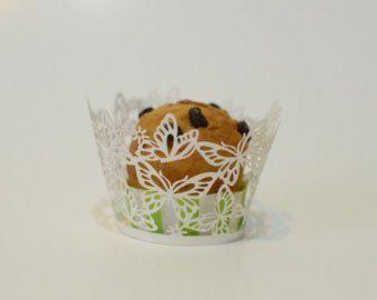 100 a filigrana poco Vine pizzo Laser taglio Cupcake Wrapper Liner cottura Cup Muffin caso vassoi compleanno decorazione festa di nozze