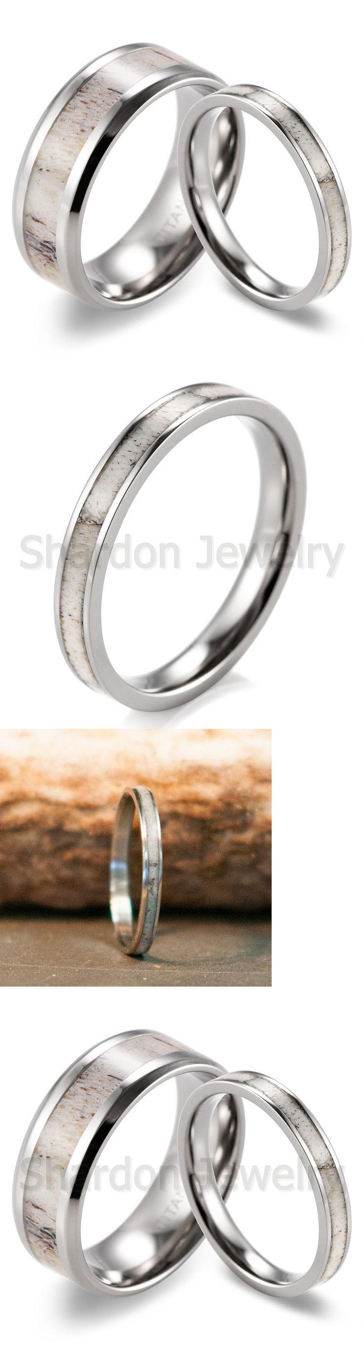 ebay eheringe ebay wedding rings sets Sets without Stones Couple S Titanium mm Wild Antler Engagement Wedding Ring Set