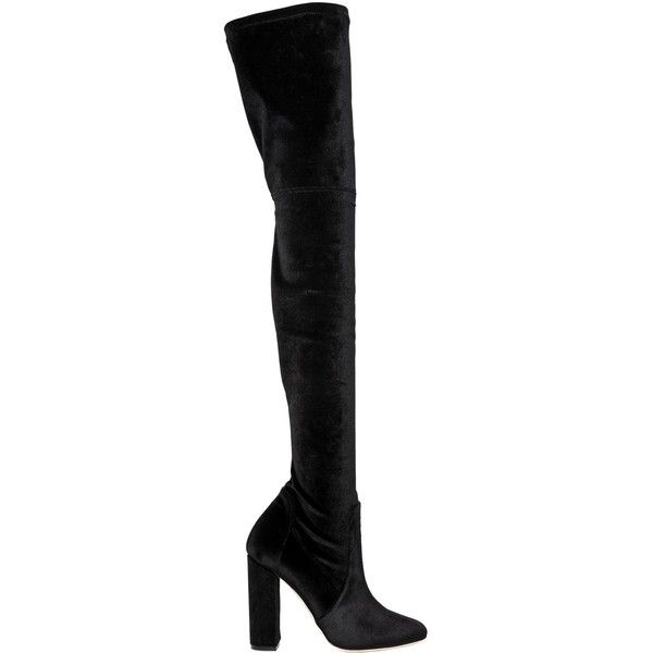 Elie Saab Women 110mm Stretch Velvet Over The Knee Boots ($1,180) ❤ liked on Polyvore featuring shoes, boots, black, over-the-knee high-heel boots, black thigh-high boots, over-knee boots, black velvet boots and stretch thigh high boots