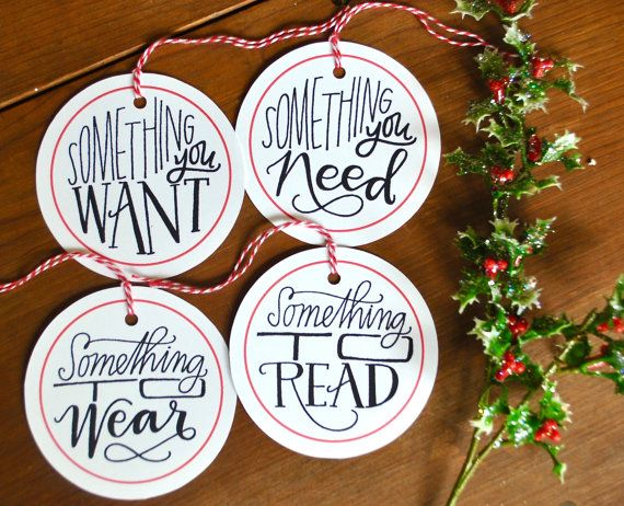 something you want need to wear read gift tag set (FOUR) // holiday gift tags set // christmas gift wrap // holiday gift wrap