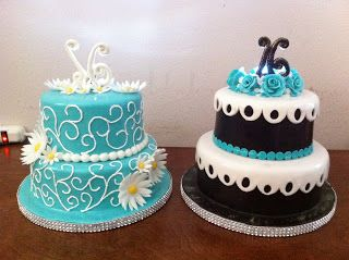 Blue Sweet 13 Birthday Cakes | beautiful sweet 16 cakes for 2 beautiful twin girls cakes were ...