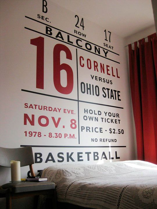 Basketball Big Ticket idea for Boys room. Could do Baseball. From Apartment Therapy