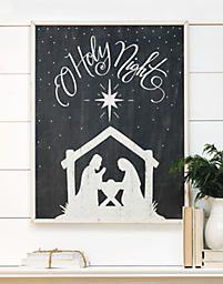 O Holy Night Nativity Silhouette Framed Board