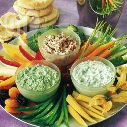 Crudités are healthy and delicious. They are quite crunchy snack-like foods and they taste amazing with different dips as shown here.