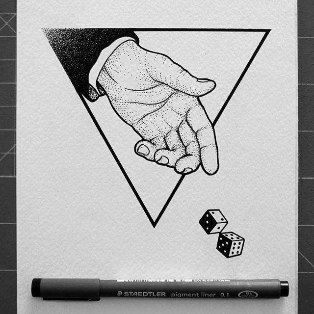 #illustration #penonpaper #ink #sketch #drawing #dotwork #pen #linework #stippling #blackink #blxckink #blacktattooart #btattooing #blackworkerssubmission #dice #iblackwork #blacktattoo #tattooed #gambler #tattoodesign #tattooapprentice