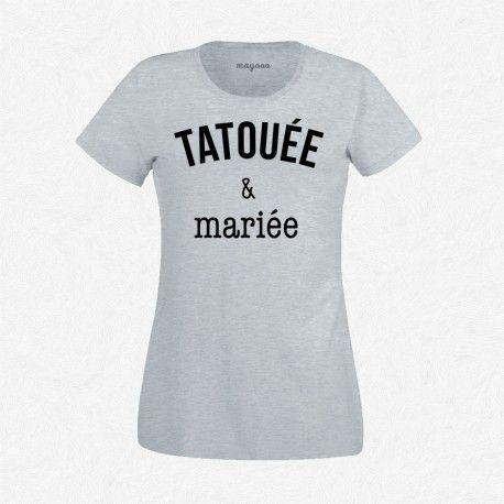 T-Shirt Femme Gris Tatouée & mariée