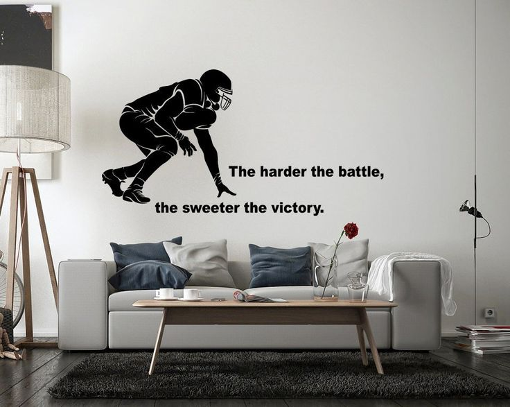 American Football Wall Decal Player Sport Motivational Inspiring Quote Team Boys Room am06