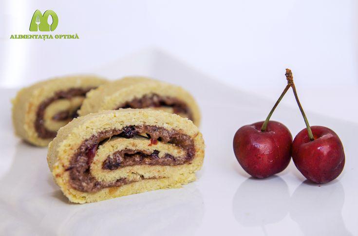 Ruladă rapidă cu cremă de cireșe – fără coacere » Alimentația Optimă