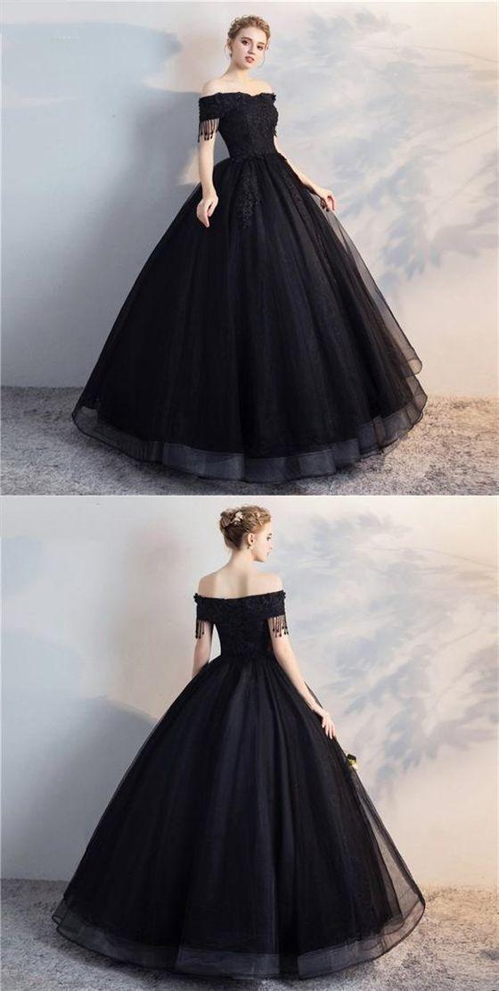 Black Off Shoulder Lace Applique Marriage ceremony Clothes,A Line Bridal Clothes