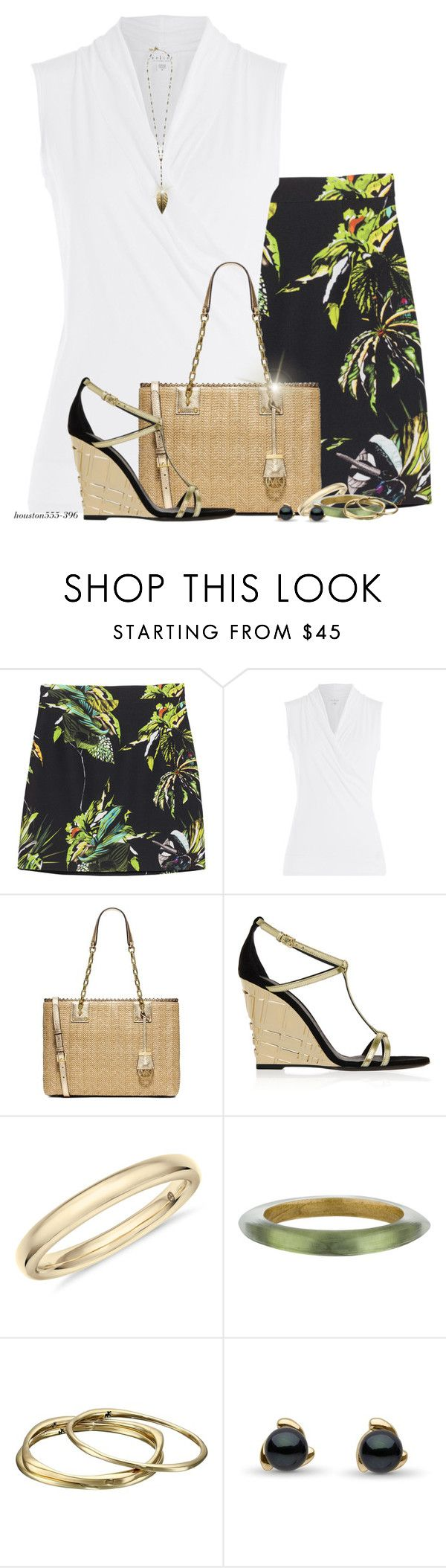 """Tropical Print Skirt"" by houston555-396 ❤ liked on Polyvore featuring Proenza Schouler, Velvet, MICHAEL Michael Kors, Burberry, Alexis Bittar, Karen Kane and Boho Gal"