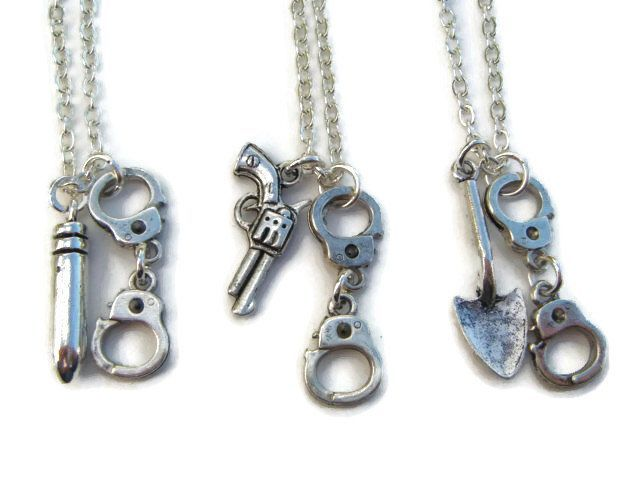 3 Partner In Crime Necklaces, Best Friends Necklace Set, Friendship Jewelry, Handcuff Jewellery