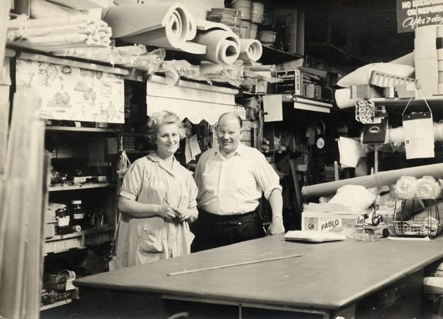 Henry & Beatrice Coor inside their shop, 36 Glenferrie Road, melbourne