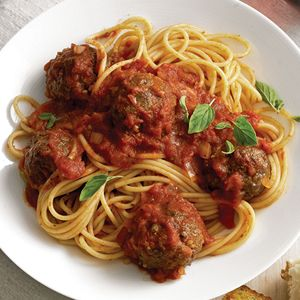 Spaghetti and Meatballs... I used crushed homemade croutons instead of bread crumbs. And made my own sauce recipe.  Meatballs were great, kids even liked them!-sherri