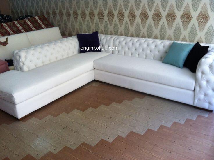 Salon için beyaz köşe L #koltuk takımı modeli kt62 enginkoltuk com daha fazlası için sitemize bekleriz