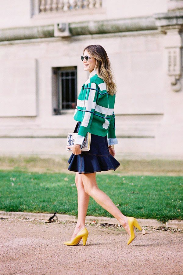 Colorblock jacket, denim skirt, and yellow heels