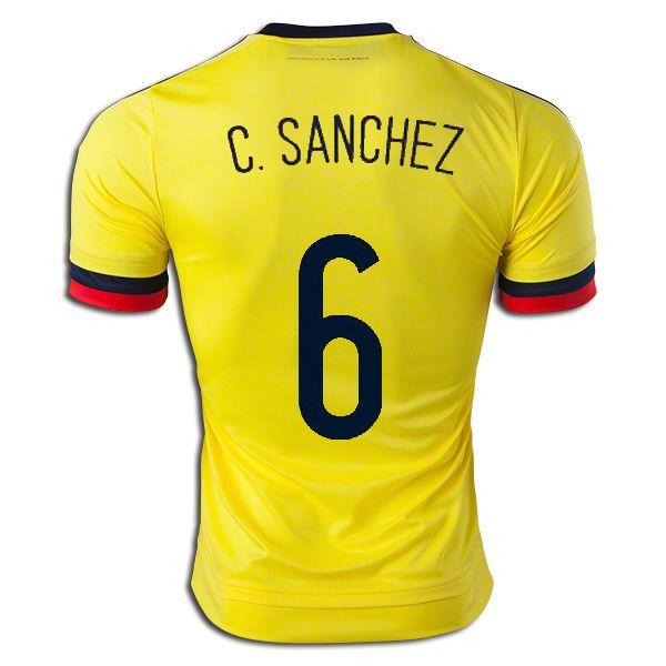 Carlos Sanchez 6 2015 Copa America Colombia Home Soccer Jersey