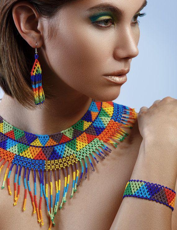 Gargantilla cuentas nativa sistema de la joyería indígena