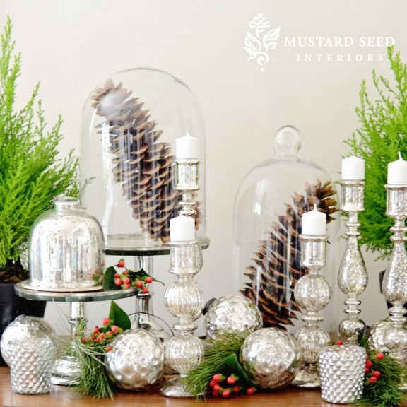 pretty mercury glass and greenery at christmas christmas decor