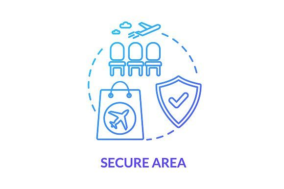Airlines Secure Area Concept Icon In 2020 Line Illustration Photoshop Design Concept