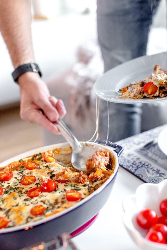 Köttfärsgratäng med mozzarella och färsk oregano