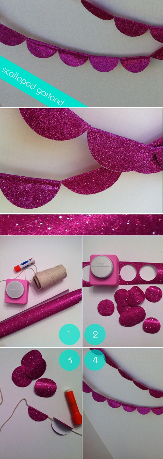 Scalloped garland. We don't have to do glitter paper...a fun, bright color would be great. We could string it around the lobby area...