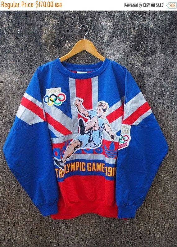 PROMOTION de-25 % ADIDAS Vintage Jeux olympiques Londres pull pull Trefoil le Jeux olympiques Sportswear Swag Crewneck 1980 s Sweat taille L hip-hop