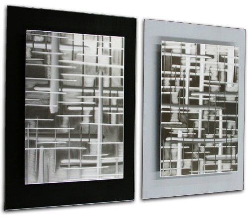 Black and White Abstract Art 'Rift Zones Black/White' - 32x24 in. - 2 Modern Wall Panels for You Living Room or Office - Unique/Original Design- Silver Wall Decor - Contemporary Artwork by NY Artwork. $960.00. Materials & Metal - ground & brushed aerospace-grade aluminum, acrylic paints (black, white) UV-resistant clear coating. Made in the USA - all of our abstract art is created by hand by a professional modern metal artist. Green Process - artist uses only the highest quality...