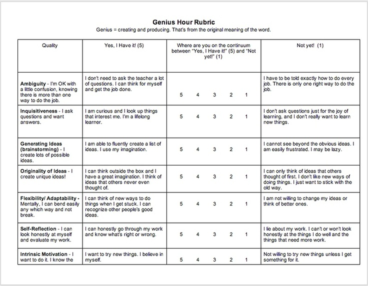 Genius Hour Sample Rubric - student reflection page; helps teacher understand where student is and maybe a place to start?