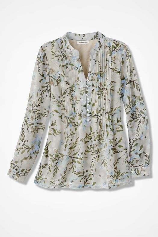 Pintucked chiffon blouse - I like the breezy look of floral print chiffon blouses, and this one is ideal because it's self-lined.