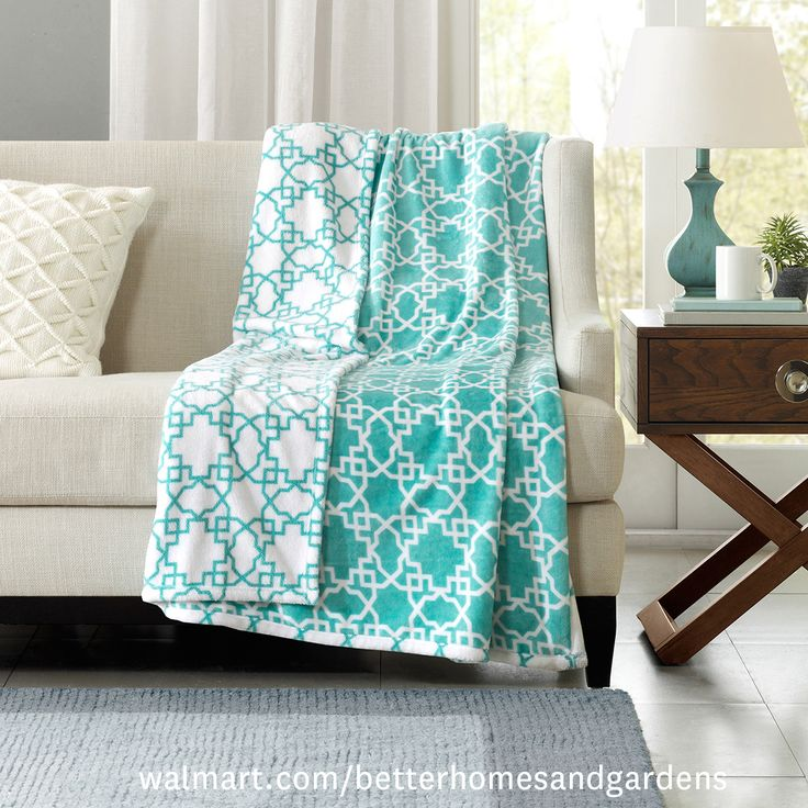 """Better Homes and Gardens Reversible Throw, 50"""" x 60"""", Teal Geo"""