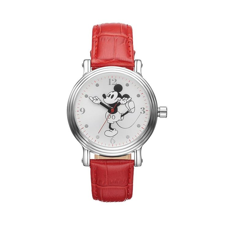 Disney's Mickey Mouse Women's Leather Watch, Red