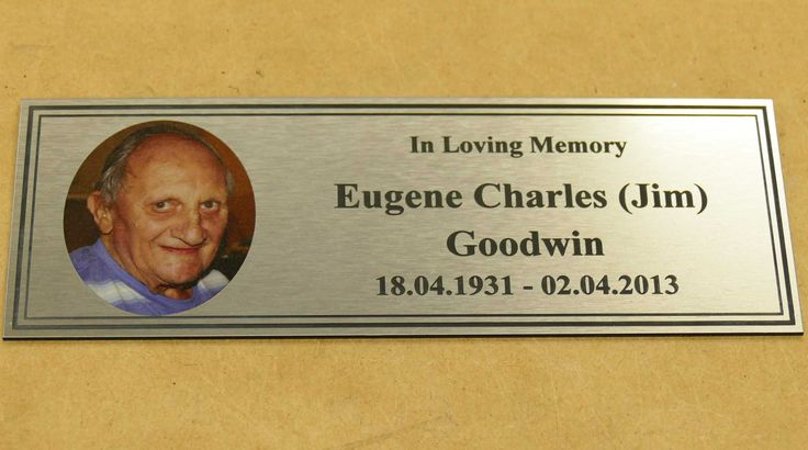 Memorial plates engraved and printed for exterior use. Choose from range sizes and materials example brush metal plate with engraving and colour print