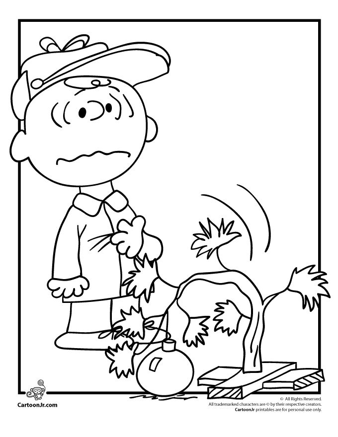 A Charlie Brown Christmas Coloring Pages Charlie Brown and his Drooping Christmas Tree Coloring Page – Cartoon Jr.