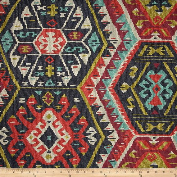 Longrock Fiesta Fabric by P Kaufmann, Kilim Fabric, Aztec Drapery Fabric, Boho Style Fabric, Fiesta Tribal - by the 1/2 yard - SHIPS FAST