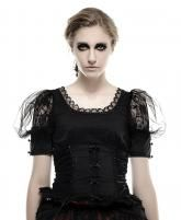 Haut noir à manches bouffantes, effet serre taille à rubans femme gothique Punk Rave