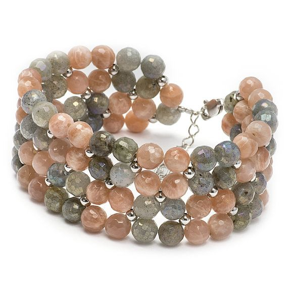Labradorite and Moonstone Sunstone Grey and Beige by MYNESS
