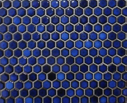 X   Small Hexagon Mosaic Tile Cobalt Blue