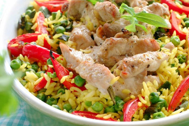 Svinekjøtt, grønnsaker og ris i form
